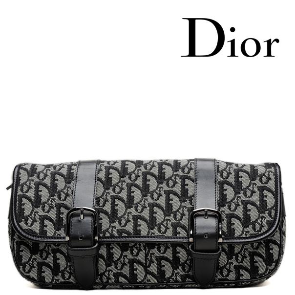 new product c9265 1d150 Christian Dior クリスチャン・ディオール 斜め掛けショルダーバッグ ロゴ/キャンバス ブラック【中古】【送料無料】